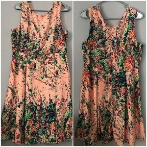 Yellow Star Peach Floral Fit & Flare Dress XL